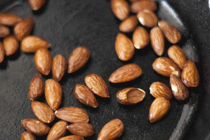 Roasted Almonds in Cast Iron Pan