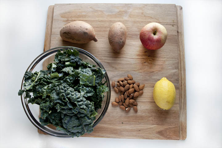 Sweet Potato, Kale and Almond Salad Ingredients