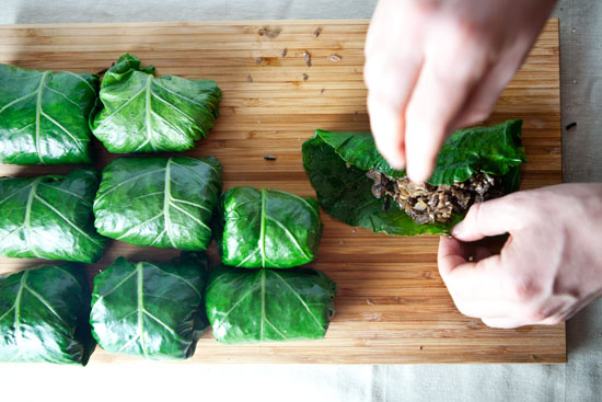 Collard Wraps with Mushrooms & Wild Rice