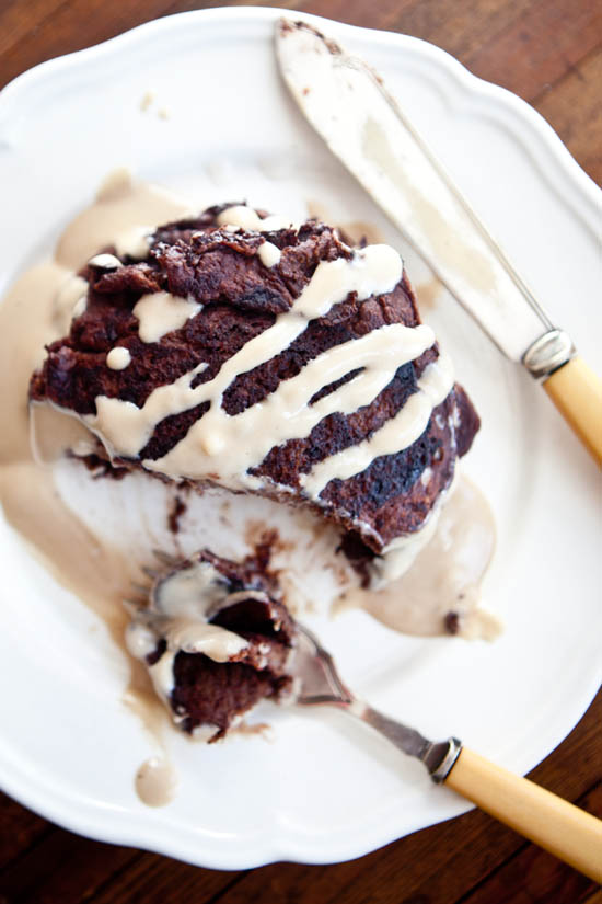 Chocolate Pancakes with Irish Cream Syrup | ourfourforks.com