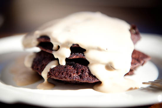 Chocolate Pancakes with Irish Cream Syrup   ourfourforks.com