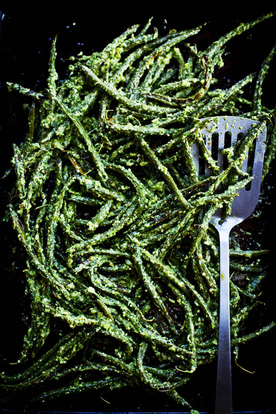 Roasted Green Beans with Vinegary Dill Sauce | ourfourforks.com