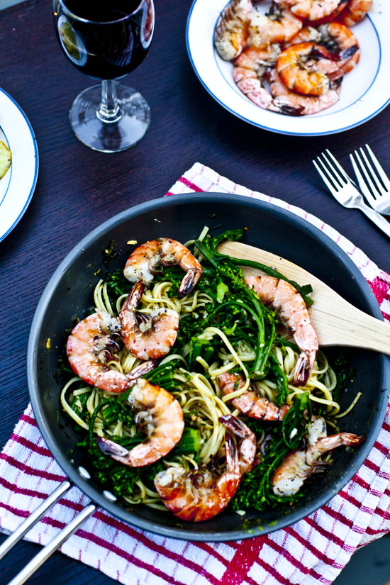 Spicy Shrimp Pasta with Broccolini | ourfourforks.com