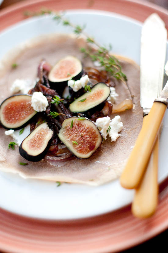 Chestnut Flour Crepes with Fresh Figs + Goat Cheese | ourfourforks.com
