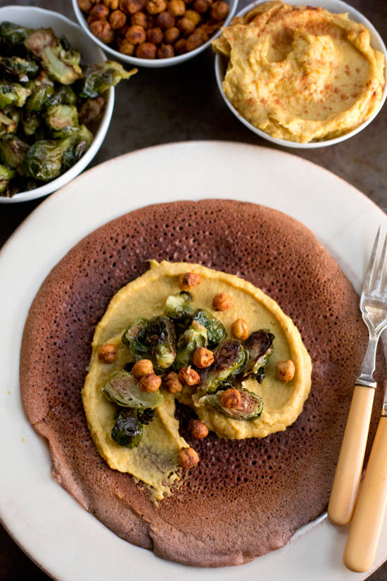 Squash Hummus with Injera, Roasted Chickpeas + Ginger Brussels Sprouts | ourfourforks.com