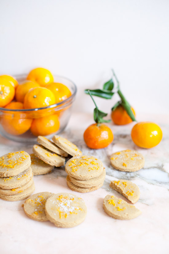 Chickpea Shortbread Cookies with Clementine Sugar | ourfourforks.com