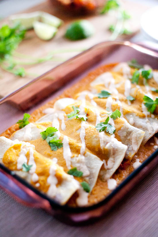 Winter Enchiladas with Pumpkin Enchilada Sauce | ourfourforks.com