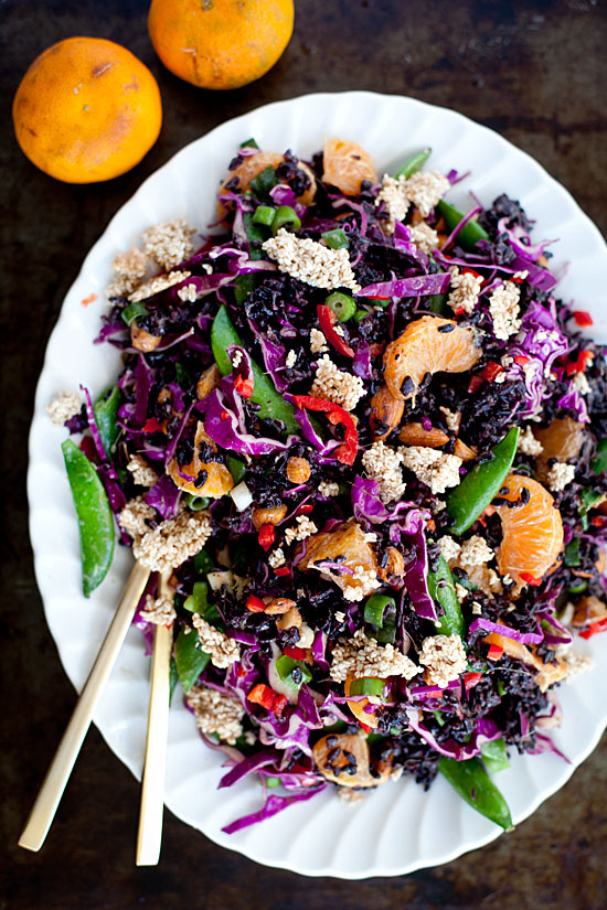 Orange + Almond Black Rice Salad | Our Four Forks | #vegan #glutenfree