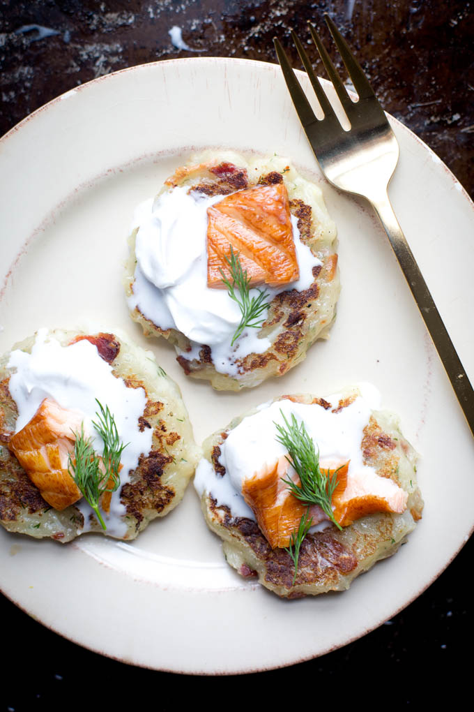 Potato Cakes with Bacon and Smoked Salmon | ourfourforks.com | #glutenfree #paleo #dairyfree #recipe