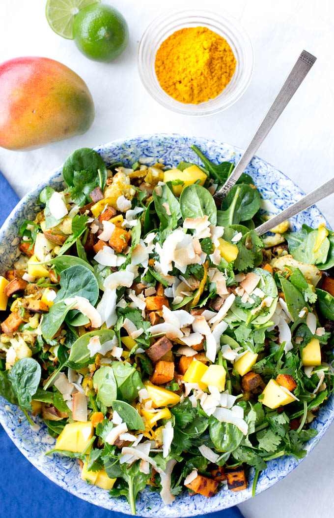 Spinach, Mango and Curried Sweet Potato Salad | Our Four Forks | #glutenfree #vegan #paleo #recipe