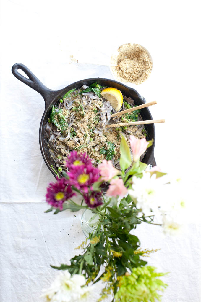 "Gluten Free Buckwheat Soba with Peas, Spinach and Sunflower Seed ""Parm"" 