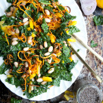 Kale Salad with Spicy Cannellini Beans and Lemon Chia Seed Dressing | ourfourforks.com #vegan #paleo #glutenfree #recipe